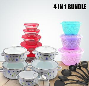 4 in 1 Bundle Olympia White Color Casserole 10 Pcs Set With Glass Cover, OE-004 + Epsilon 3 Pieces Fruit Basket With Cover - EN3662 + Olympia 6 pcs kitchen tool sets + Glass bowl 5 Pieces Sets GB-004