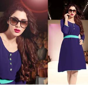Falak Kurtis Fully stiched with Inner Navy Blue - XXL