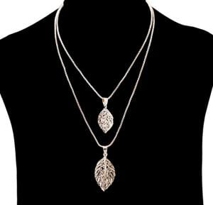 Fashion Jewelry triangle dual leaf Necklace NO.FJ-411
