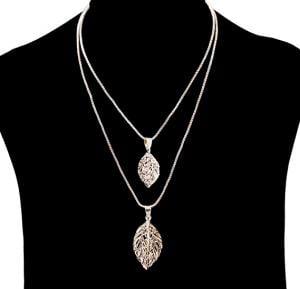 Fashion Jewelry triangle dual leaf Necklace NO.FJ-411