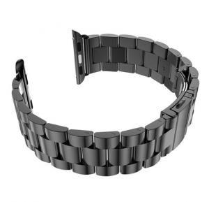 For Apple Watch 42mm - Replacement Stainless Steel Watch Band with Axel Adapters, Charcoal Black