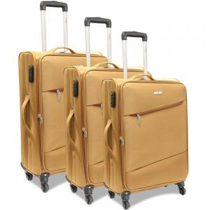 Traveller 4 Wheel Soft Trolley 3pcs Set, TR-3310, Tan