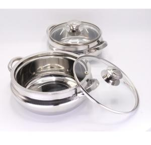 Freshia Insulated Steel Hot Pot with Glass Lid 2 Pcs