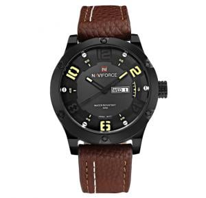 Naviforce Brown Leather Strap Watch For Men - NF9070