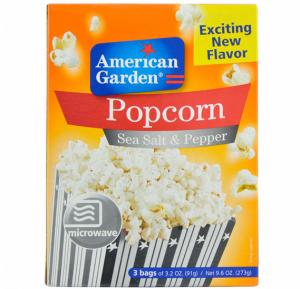American Garden Microwave Popcorn Sea Salt & Pepper 9.6 Oz