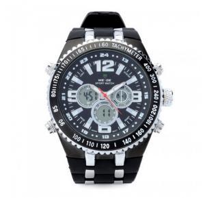 Weide Mens Fashion Alarm Waterproof Day Date Rubber Band Sport Quartz Analog Digital Wrist Watch Black - 1107