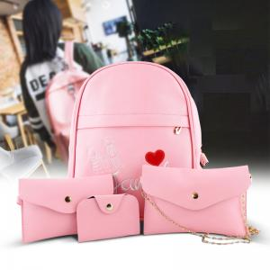Womens stylish backpack set, 4 pcs ACE-4 Pink