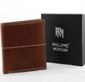 Philippe Morgan premium Leather Wallet PM031, Brown