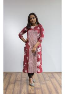 Buy 2 Ruky Fareen Women Long Top Flair Kurti Full Sleeve RF 211, 212, and Get RF 214 L