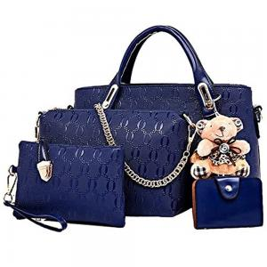 Womens 4 Pcs PU Leather Hand Bag Set Blue
