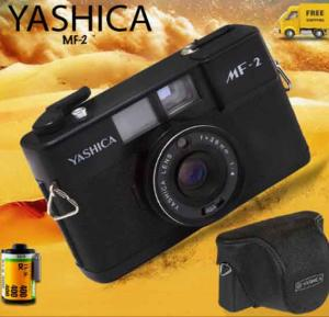 Yashica Functional Vintage 35mm analog camara for lomography,Working compact point and shoot,Leather, Handstrap, New lightseals, MF-2