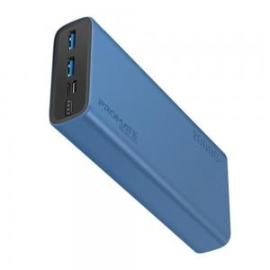 Promate 20000 Mah Compact Smart Charging Power Bank with Dual USB Output,  Blue