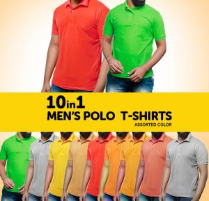 10-In-1 Mens Polo Collar T-Shirts Set Assorted Color - XXL