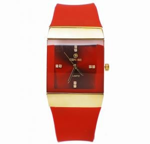 Censor Collection square cut fashion Wrist watch 2207M, Red, Royalhand