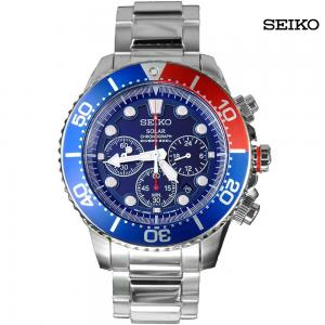 Seiko Men Analog Chronograph Stainless Steel Watch, SSC019P1