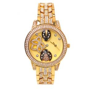 Catwalk Fashionable Cz Stone Covered Analog Stainless Steel Watch For Women CWW - 190 - Gold