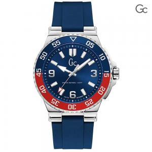 GC Mens Structura Diver 44mm Blue Silicone Band Steel Case Sapphire Crystal Quartz Watch, Y51001G7MF