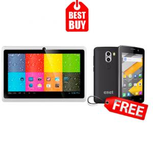 Combo Offer! Lenosed A710 Tablet, Android 4.2.2, 7 Inch LCD Display, 1GB RAM, 8GB Storage, Dual Camera, Wifi- White & Get Enet T5 Mini 3G Smartphone,Android OS,4.0 Inch LCD Display,Dual Camera-Gold FREE