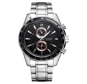 Curren Luxury Design Stainless Steel Business Watch For Men, 8010, Silver Black