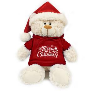 Caravaan Cream Bear size 38cm  w/ Santa Hat and Hoodie with Merry Christmas print  STT40X