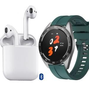 2 in 1 Offer X10 Smartwatch With Fitness Tracker + I12 TWS True Wireless Mini Bluetooth Air Pods