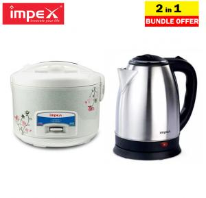 2 in 1 Home Essential offer, Impex Electric Rice Cooker 1.8 Ltr, RC 2803 With Impex Electric Kettle 1.5 Ltr