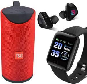 3 in 1 Bundle Pack Smart Watch, Bluetooth Speaker and Truly Wireless In-EAR Headphone