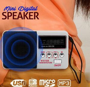 WS-239 Wster Portable Rechargeable Mini Digital Speaker System Supports FM Radio, MP3, USB & TF Card