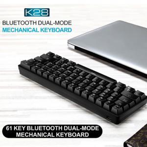 Leaven K28 Wireless Bluetooth Keyboard 61key Dual-mode RGB Backlit Waterproof Mechanical Gaming Keyboard Blue Brown Red Switch Keyboard