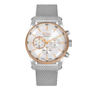 Lee Cooper Mens Chronograph TT Rose Gold Case Silver Super Metal Strap Silver Dial, LC06356.530