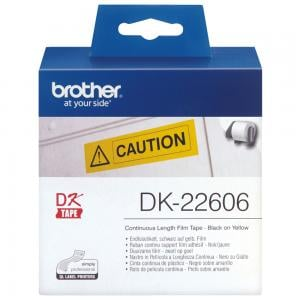 Brother DK22606 Continuous Film Label Tape 62mm Black on Yellow