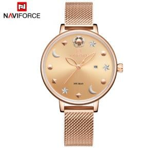 Naviforce NF5009 Moon Star Design Casual Style Women Wrist Watch Waterproof - Rosegold