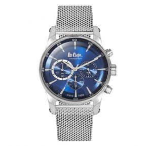 Lee Cooper Mens Chronograph Silver Case Silver Super Metal Strap Blue Dial, LC06356.350