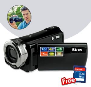 2 in 1 Bundle Bison HD Digital Video Camera Recorder 16 Megapixel, 16x Digital Zoom, HD-95 with Sandisk SD card 16gb