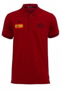 Braxton Embroidered Spain Flag Polo Maroon T-Shirt - EL1221 - M