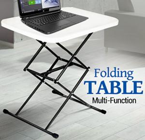 Multi-Function Adjustable Folding Table, White, FS3644-C