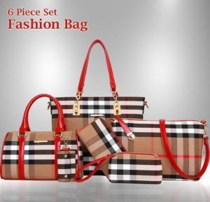 Elegant Plaid tote bag 6pcs fashion bag