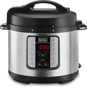 Black+Decker PCP1000-B5 Electric Pressure Cooker 6L Black and Silver