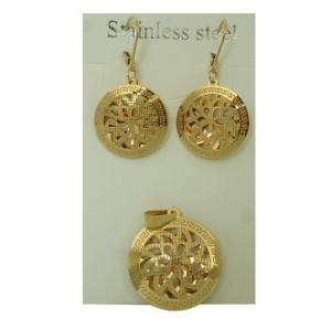 Elissa Jewelry 22K Gold Plated Ladies Fancy Round-Shaped Earrings Set, EY026