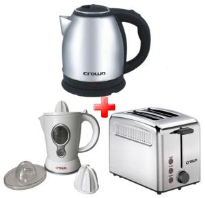 Crownline  3 in 1 Bundle Offer Cordless Kettle, Housing Toaster And Juice Extractor