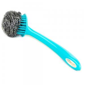 Cleano CI-2290 Set of 3 Stainless Steel Sponges Scourer Set with Handle, Blue