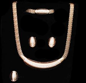 A&H 18K Gold Plated Multi Layer Thick Chain Design Jewelry - 1W089