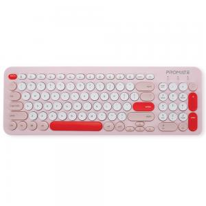 Promate 2.4G Wireless Keyboard and 1600Dpi Mouse Combo with Nano USB Receiver, PASTEL.PINK/EA, Pink