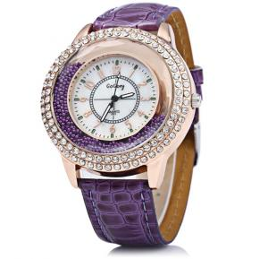 Generic New Women Runing Diamond Leather Watch Fashion Lady Dress Watch-Violet