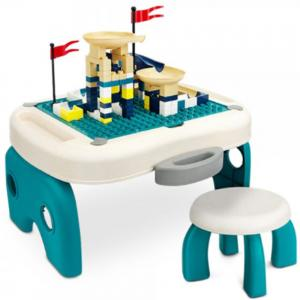 Little Story LS_BLCTB_SC Foldable Portable Block Table With 50 Blocks and Stool
