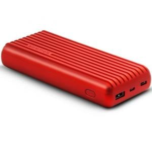 Promate 20000mAh Type-C™ Power Bank, Portable 3.1A Dual USB Fast Charging External Battery Pack with USB-C™ Input /Output Port and Over-Charging Protection for iPhone X, XS, XR, Samsung S9+/S8, Note 9, Titan-20C Red