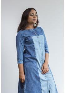 Ruky Fareen Denim Women Long Top Kurti Full Sleeve - RF 213 - XL
