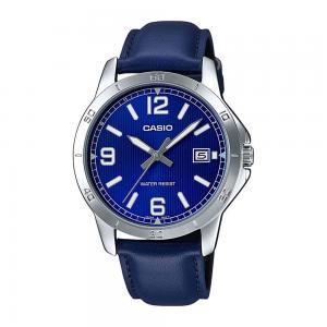 Casio Mens Analog Leather Watch, MTP-V004L-2BUDF