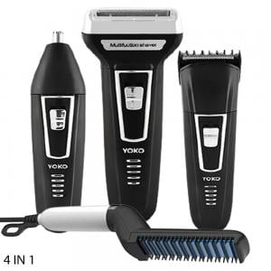 4 In 1 Beard Straightening Comb Black White And Yoko 3 in 1 YK-6558 Dry For Men Clipper & Trimmer