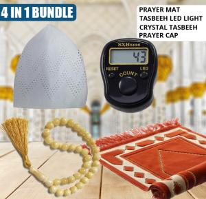 4 In 1 bundle Prayer Mat + Tasbeeh LED Light Tally Counter With Different Shades+ Crystal Tasbeeh Different Kinds Shades + Prayer Cap White